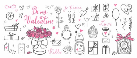 Happy Valentines day vector doodle set. Handwritten Lettering . Isolated objects