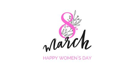 Happy International Women s Day holiday vector illustration. Spring concept for banners, web design, posters, invitations. 写真素材 - 125187634