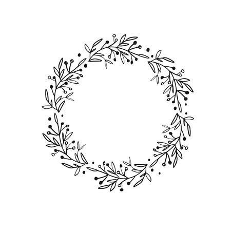 Rustic and floral doodle wreath. Vector hand drawn botanical illustration. Isolated objects on white