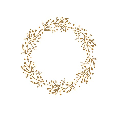 Rustic and floral doodle wreath. Vector hand drawn botanical illustration. Isolated objects on white 写真素材 - 125187635