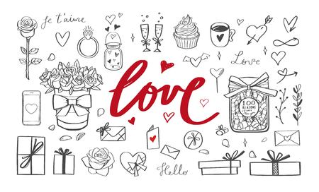 Romantic vector doodle set. Handwritten Lettering Love. Isolated objects on white 写真素材 - 120879847