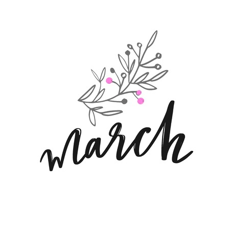 March Spring vector handwritten Lettering. Hand sketched logotype.  イラスト・ベクター素材
