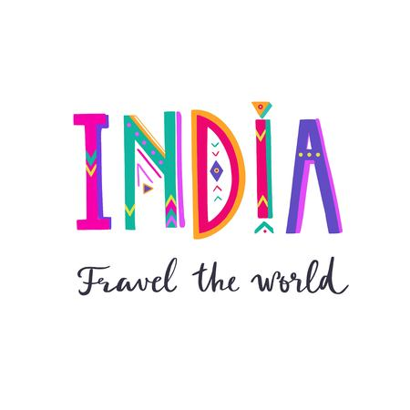 INDIA- vector hand drawn Lettering. Poster, banner 写真素材 - 120879849