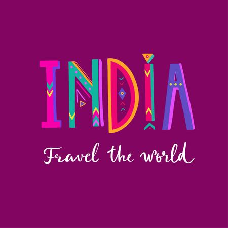 INDIA- vector hand drawn Lettering. Poster, banner 写真素材 - 120879850