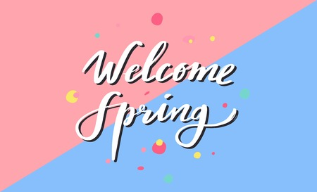 Welcome Spring poster, banner. vector handwritten calligraphy 写真素材 - 120879851
