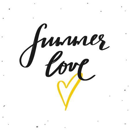 Summer Love. Vector hand drawn lettering. Summer season inspirational quote, slogan. Handwritten typography style. Summer poster, banner, design element