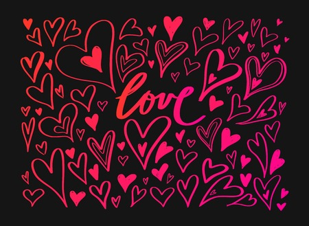Vector hand drawn doodle Heart elements. Creative romantic elements for cards, banner, poster. Love handwritten Lettering, Calligraphy  イラスト・ベクター素材