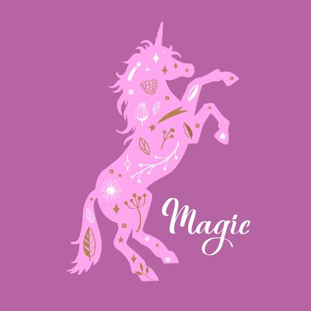 Vector Silhouette of Unicorn in the flower, rustic pattern. Fairy tale forest card, poster, background, tattoo concept  イラスト・ベクター素材
