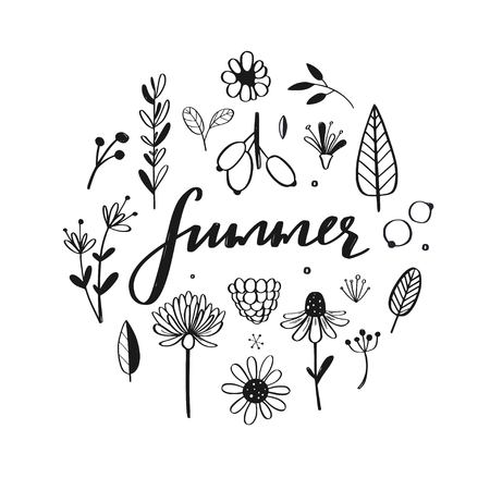 Rustic and floral doodle set. Vector hand drawn botanical illustration. Isolated objects on white, Summer handwritten Calligraphy  イラスト・ベクター素材