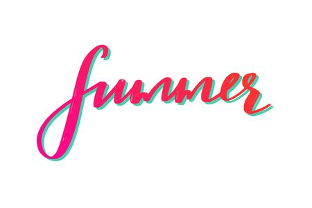 Summer Love. Vector hand drawn lettering. Summer season inspirational quote, slogan