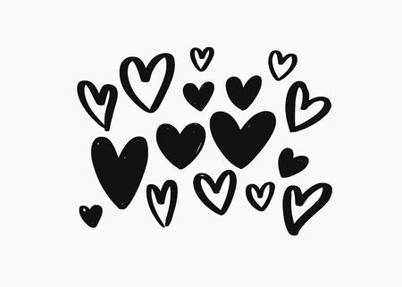 Vector hand drawn doodle Heart elements. Creative romantic elements for cards, banner, poster  イラスト・ベクター素材