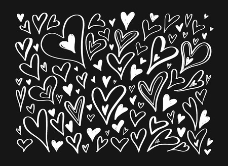 Vector hand drawn doodle Heart elements. Creative romantic elements for cards, banner, poster.