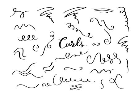 Vector hand drawn decorative curls elements, swirls, flourishes and text calligraphy dividers . Vintage isolated objects