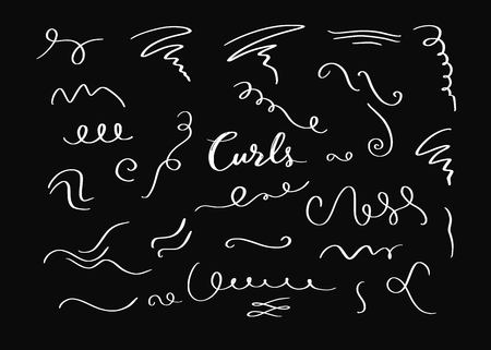 Vector hand drawn decorative curls elements, swirls, flourishes and text calligraphy dividers