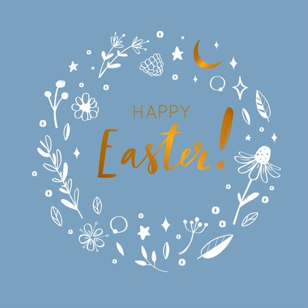 Happy Easter vector postcard. Handwritten calligraphy, Lettering with rustic flower elements.
