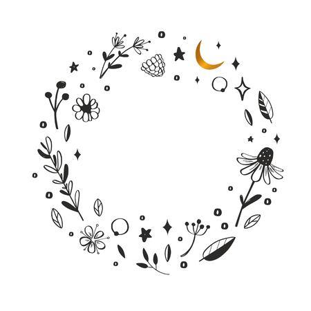 Floral vector wreath, frame. Hand drawn rustic botanical doddle elements. Nature concept illustration  イラスト・ベクター素材