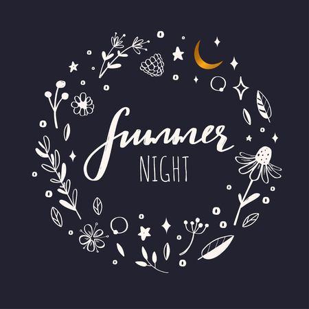 Guirnalda floral vector, marco. Elementos botánicos rústicos dibujados a mano. Concepto de naturaleza Noche de verano