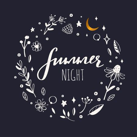 Floral vector wreath, frame. Hand drawn rustic botanical doddle elements. Nature concept Summer night