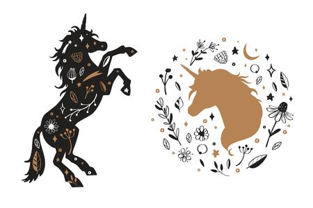 Vector Silhouette of Unicorn and unicorn head in the flower, rustic pattern. Fairy tale forest collection
