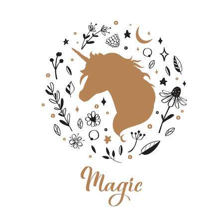 Vector Silhouette of Unicorn in the flower, rustic pattern. Fairy tale forest card, poster, background, tattoo concept Illustration
