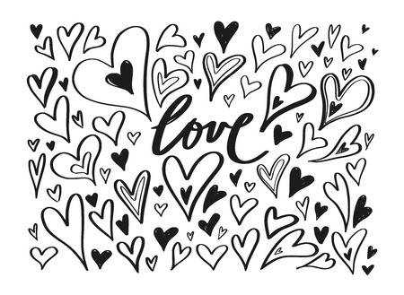 Vector hand drawn doodle Heart elements. Creative romantic elements for cards, banner, poster. Love handwritten Lettering, Calligraphy 写真素材 - 125151888