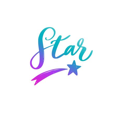 Star. Vector handwritten Lettering, Calligraphy. Symbol and Logo  イラスト・ベクター素材
