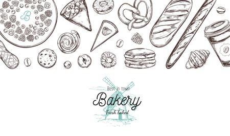 Bakery hand drawn vector top view illustration, collection. Hand drawn sketch with bread, pastry, sweets, cakes, coffee and croissant. Isolated objects 向量圖像