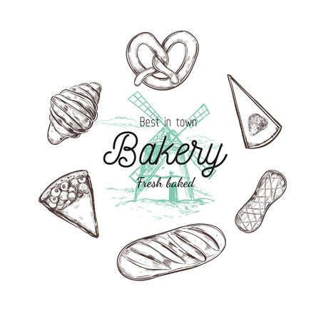 Bakery hand drawn vector top view illustration, collection. Hand drawn sketch with bread, pastry, sweets, cakes, coffee and croissant. Isolated objects  イラスト・ベクター素材