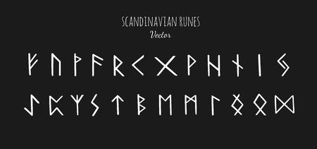 Magic Scandinavian Runes. Old Futhark. vector hand drawn