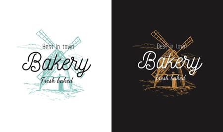Vector Bakery logo, symbol with Windmill rural landscape. Pastry