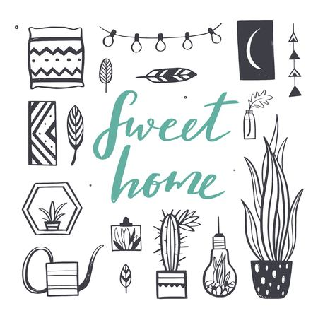 Home decor and House plants vector hand drawn set. Home decorations and interior design elements.Isolated boho and scandinavian cartoon  イラスト・ベクター素材