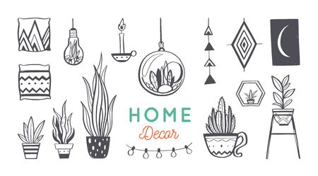 Home decor and House plants vector hand drawn set. Home decorations and interior design elements.Isolated boho and scandinavian cartoon Ilustracja
