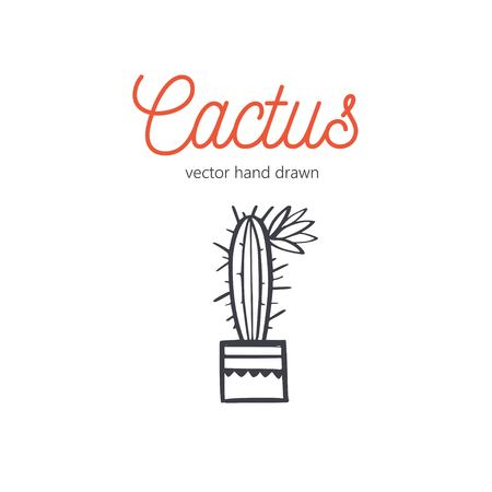 Cactus vector hand drawn. Desert houseplant sketch 写真素材 - 120880097