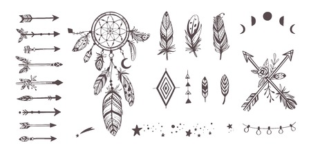 Boho style vector collection for tattoo, icon, flyers,cards with dreamcatcher ,feathers,moon,wild,arrow