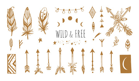 Boho style vector collection for tattoo, icon, flyers,cards with dreamcatcher ,feathers,moon,wild,arrows Bohemian tribal set  イラスト・ベクター素材