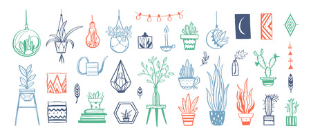 Home decor and House plants vector hand drawn set. Home decorations and interior design elements 写真素材 - 120880101