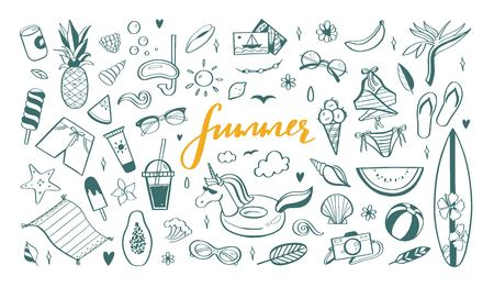 Big set of Summer vector design doodle elements. Beach collection, tropical fruits, swimsuit, surfing. Hand drawn isolated sketches on white background. Summer handwritten calligraphy