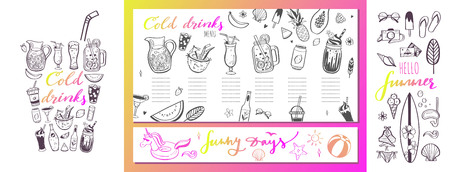 Restaurant and bar vector menu template with hand drawn illustrations. summer cocktails and beverages. Various doodles for beach party