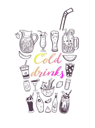Vector hand drawn illustration and handwritten calligraphy of cold drinks and summer beverages. Conceptual doodle Lettering for menu cover, restaurant and cafe decor
