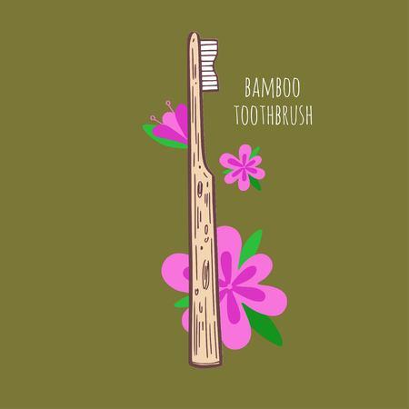 Bamboo eco-friendly teethbrush. Vector hand drawn illustration. Zero Waste concept  イラスト・ベクター素材