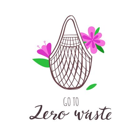 Eco-friendly textile shopping bag. Vector hand drawn conceptual illustration. Zero Waste and eco green lifestyle.