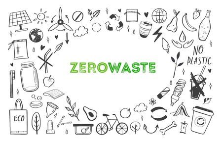 Zero waste lifestyle vector hand drawn set. Collection of ecogical and natural elements. Go green concept. Isolated objects
