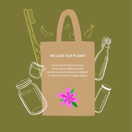 Zero waste and eco friendly lifestyle vector hand drawn background,banner, poster with textile bag, glass jars and bamboo teethbrush. Less plastic concept.