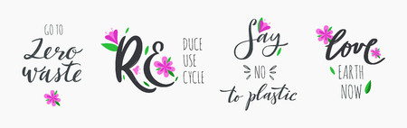 Zero waste lifestyle vector hand drawn calligraphy and lettering set. Motivational quotes for eco friendly and green living. No plastic , reuse, recycle, reuse words