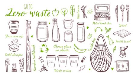 Zero waste lifestyle vector hand drawn set. Collection of eco and natural elements. Go green concept. Isolated objects