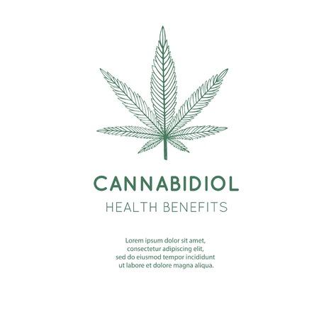 Vector hand drawn symbol of Cannabis, marijuana. Medicinal cannabidiol 写真素材 - 127240300