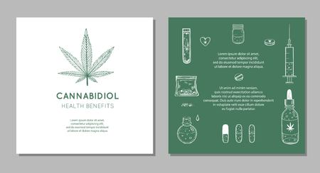 Cannabidiol Health benefits Vector background, banners. Hand drawn Infographic set of medical Cannabis, marijuana. Pills, bottles, oil and other medicinal cannabis 写真素材 - 127240301