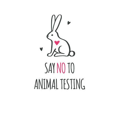Say NO to animal testing, cruelty free Vector conceptual illustration. Symbol, logo in cartoon, sketch