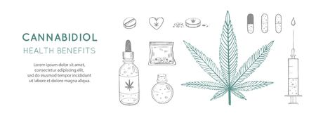 Cannabidiol Health benefits Vector background, banner. Hand drawn Infographic set of medical Cannabis, marijuana. Pills, bottles, oil and other medicinal cannabis symbols  イラスト・ベクター素材