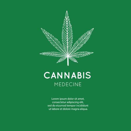 Vector hand drawn symbol of Cannabis, marijuana. Medicinal cannabidiol